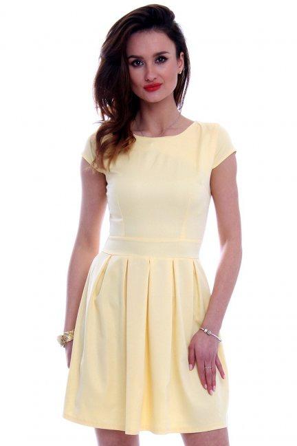 Sukienka midi rozkloszowana CM102 żółta