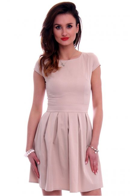 Sukienka midi rozkloszowana CM102 beżowa