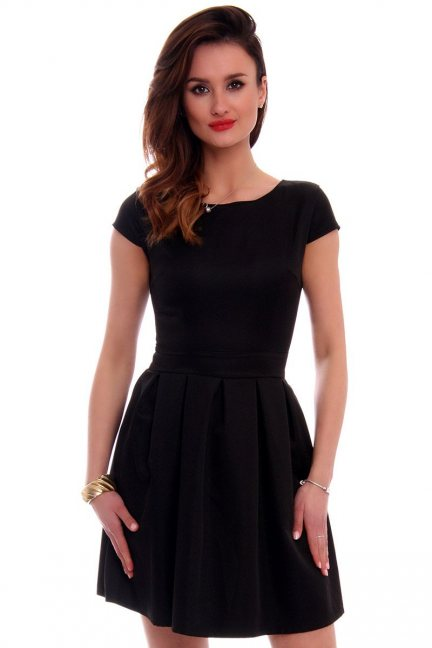 Sukienka rozkloszowana CM102 czarna