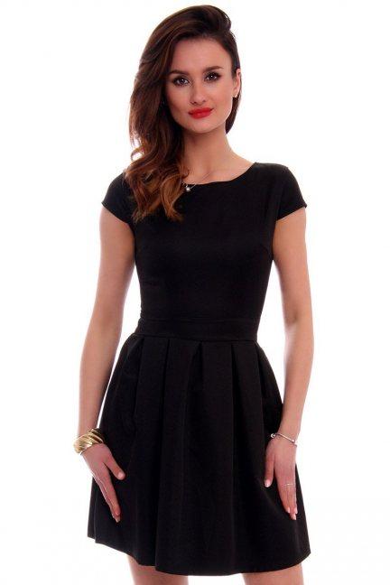 Sukienka midi rozkloszowana CM102 czarna