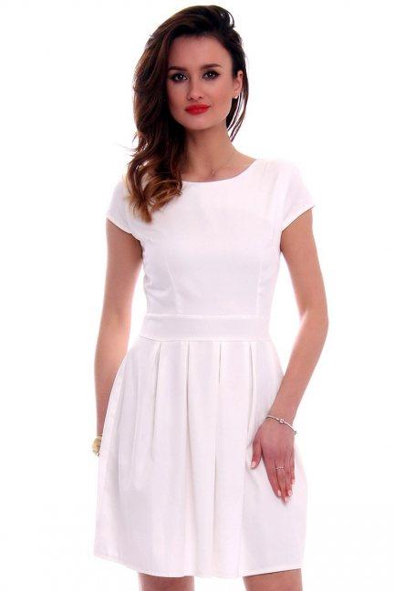 Sukienka midi rozkloszowana CM102 ecru