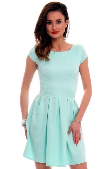 Sukienka midi rozkloszowana CM102 miętowa