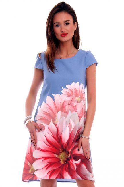 Sukienka z kwiatem CMK494 niebieska