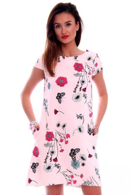 Sukienka w kwiaty CMK495 różowa