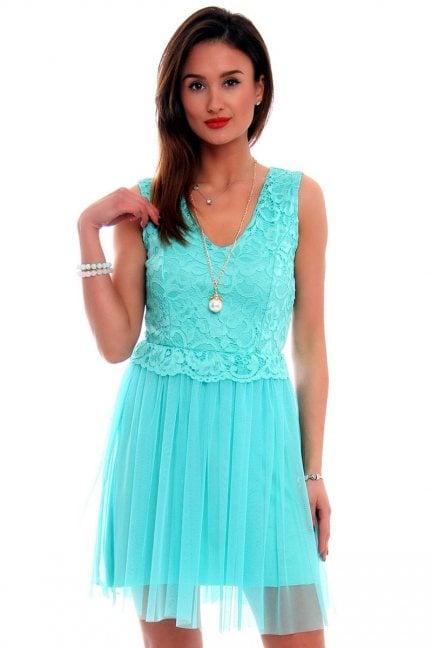 Sukienka tiulowa z koronką CMK497 miętowa
