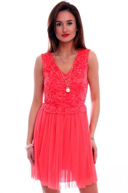 Sukienka tiulowa z koronką CMK497 koralowa