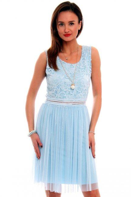 Sukienka z tiulem i koronką CMK498 błękitna