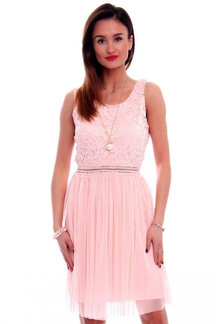 Sukienka z tiulem i koronką CMK498 różowa