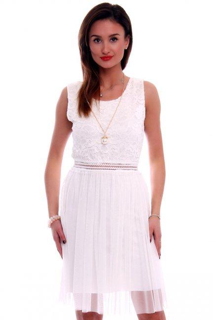 Sukienka z tiulem i koronką CMK498 ecru