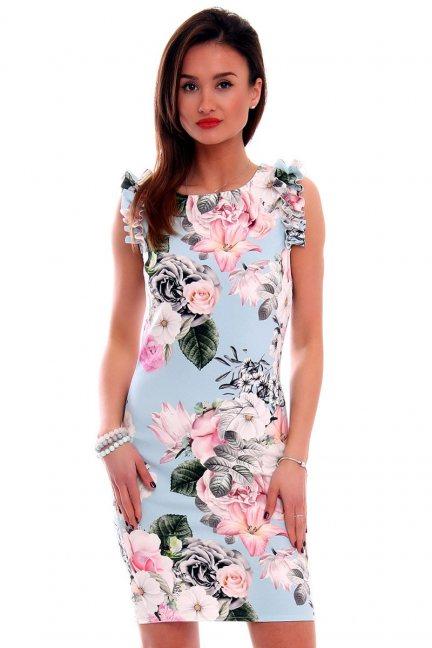 Sukienka w kwiaty CMK499 błękitna