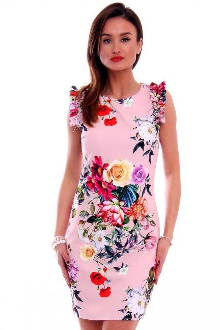 Sukienka w kwiaty CMK499 różowa