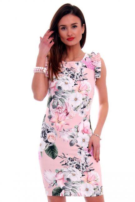 Sukienka mini w kwiaty CMK499 różowa