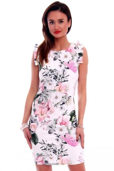 Sukienka w kwiaty CMK499 biała