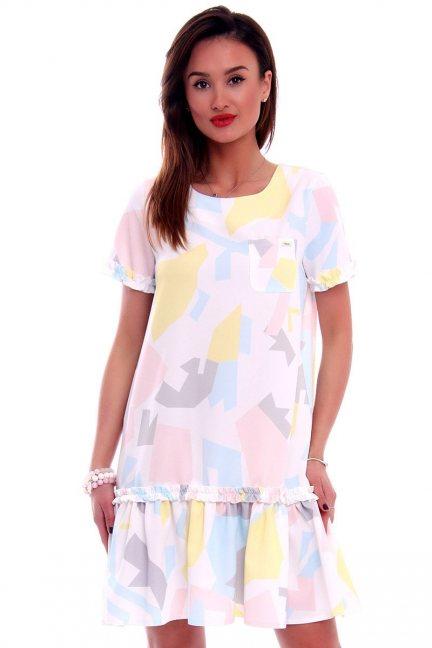 Sukienka midi z falbanką CMK506 ecru