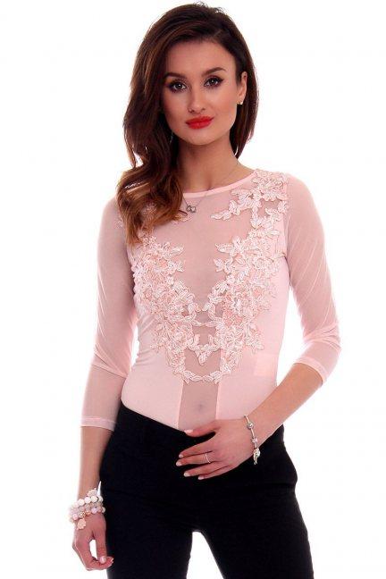 Body damskie z koronki CMK507 różowe
