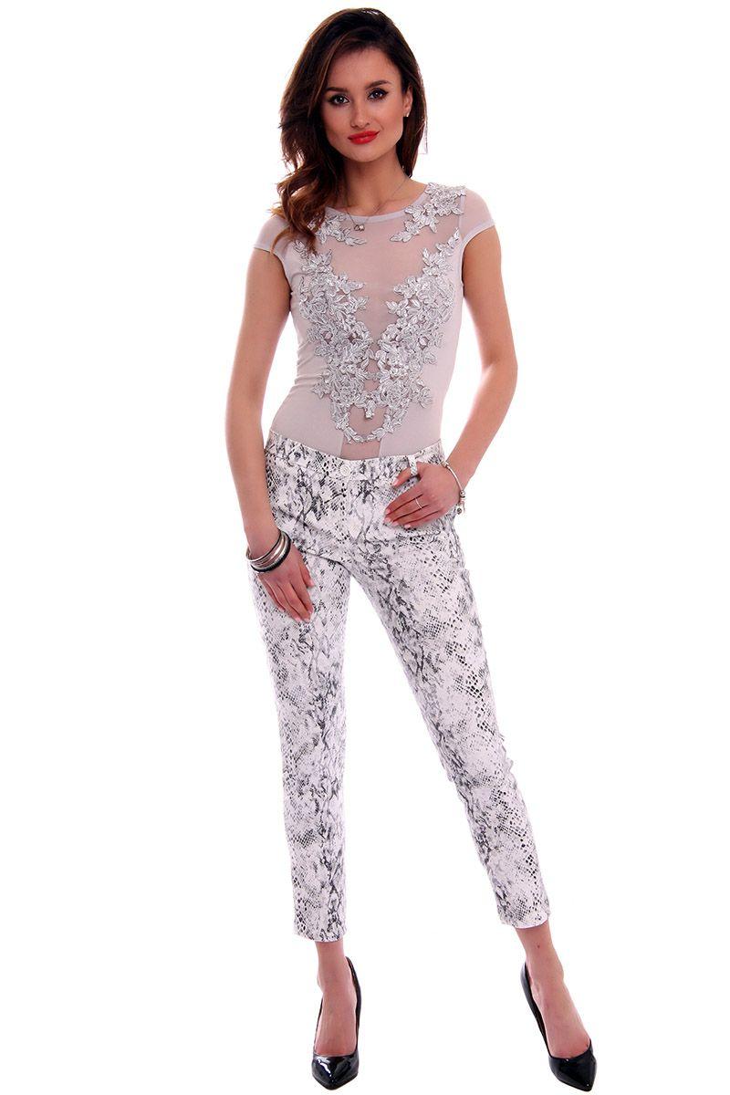 f6db354a74835c Body z krótkim rękawem CMK508 szare modna odzież damska w CosmosModa