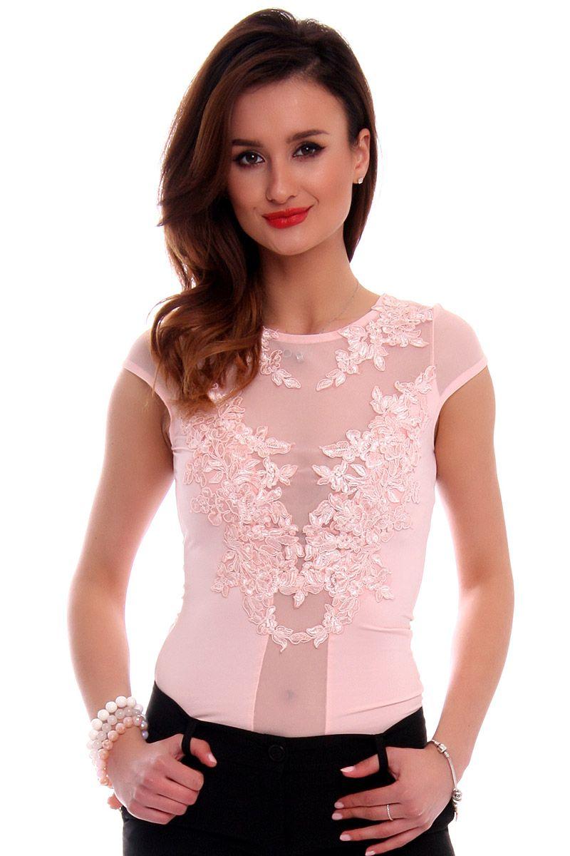 64845e75ca81a5 Body damskie z haftem CMK508 różowe elegancka odzież online CosmosModa
