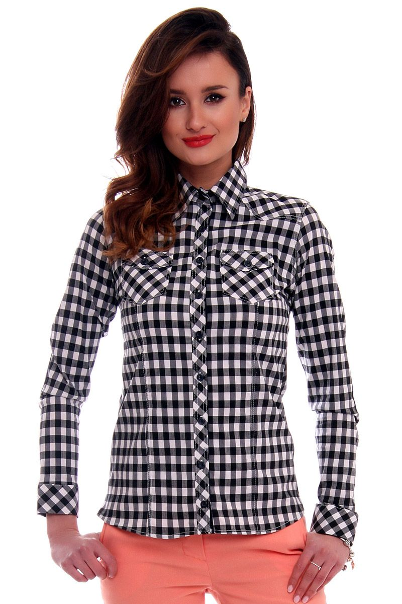 Koszula dopasowana w kratkę CMK64 czarna damskie koszule  TlaME