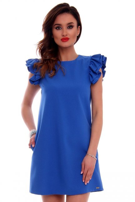 Sukienka mini z falbankami CMK512 chabrowa