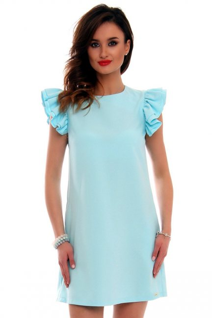 Sukienka mini z falbankami CMK512 błękitna