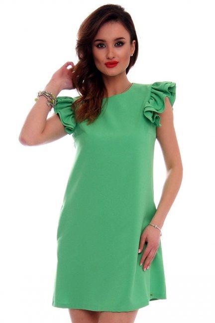 Sukienka mini z falbankami CMK512 zielona