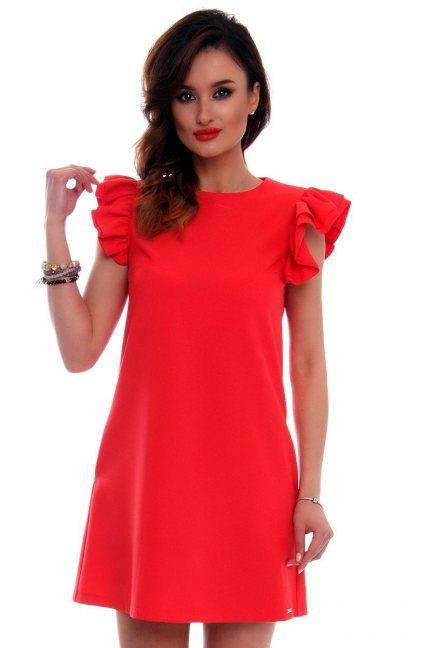 Sukienka mini z falbankami CMK512 czerwona