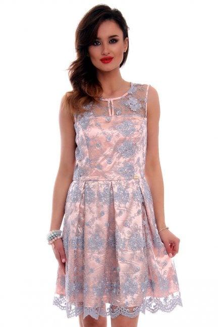 Sukienka koronka zakładki CMK514 szara