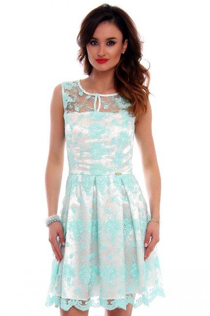 Sukienka koronka zakładki CMK514 miętowa