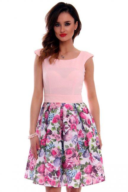 Sukienka damska w kwiaty CMK515 różowa