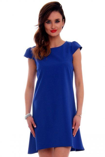 Sukienka asymetryczna CMK517 chabrowa