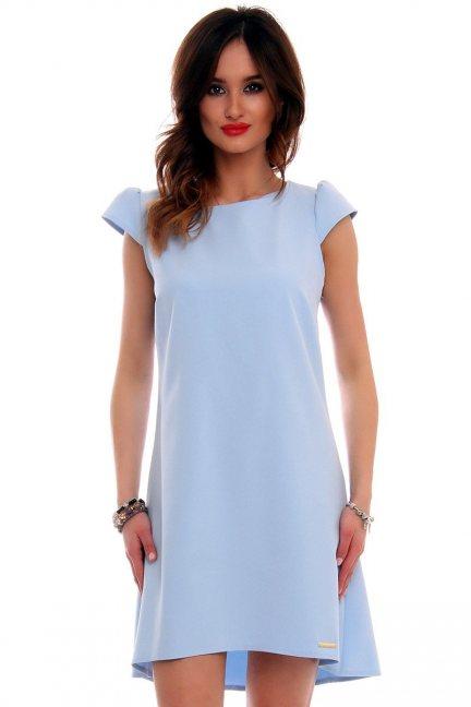 Sukienka asymetryczna CMK517 błękitna