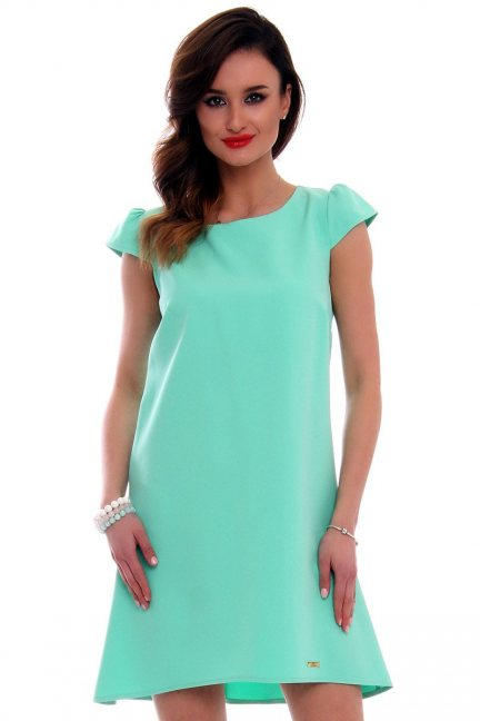 Sukienka asymetryczna CMK517 miętowa
