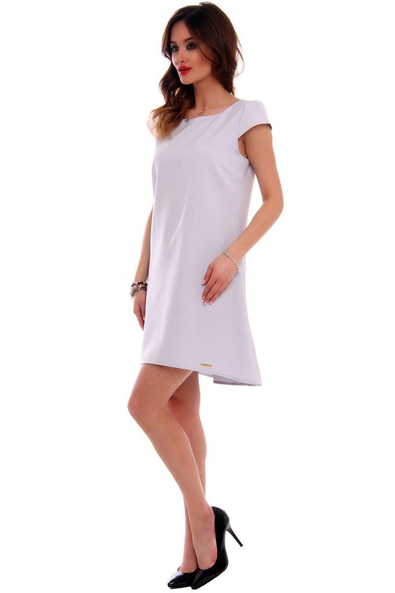 eab9126a73 Sukienka asymetryczna CMK517 szara  Elegancka sukienka mini  Sukienka  asymetryczna damska ...