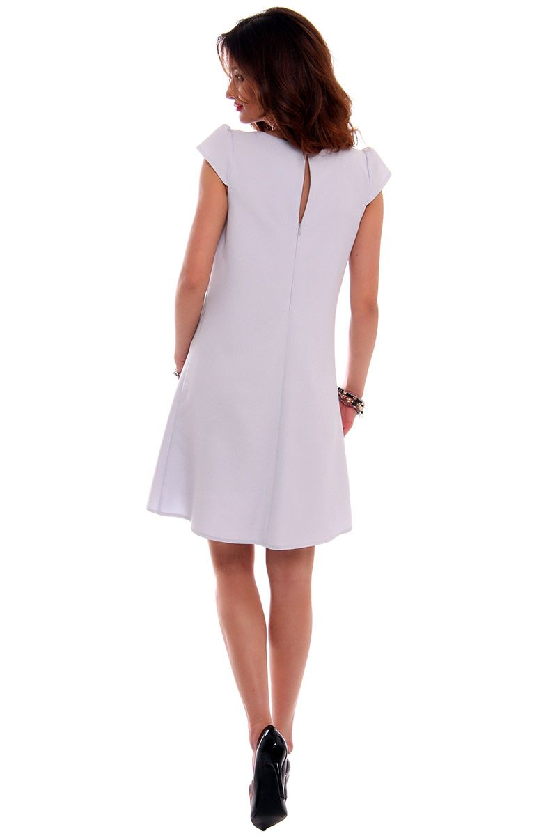 2fcb3124f2 Sukienka asymetryczna CMK517 szara  Elegancka sukienka mini  Sukienka  asymetryczna damska  Szara sukienka damska  Sklep z modną odzieżą damską  CosmosModa