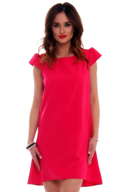 Sukienka asymetryczna CMK517 fuksja