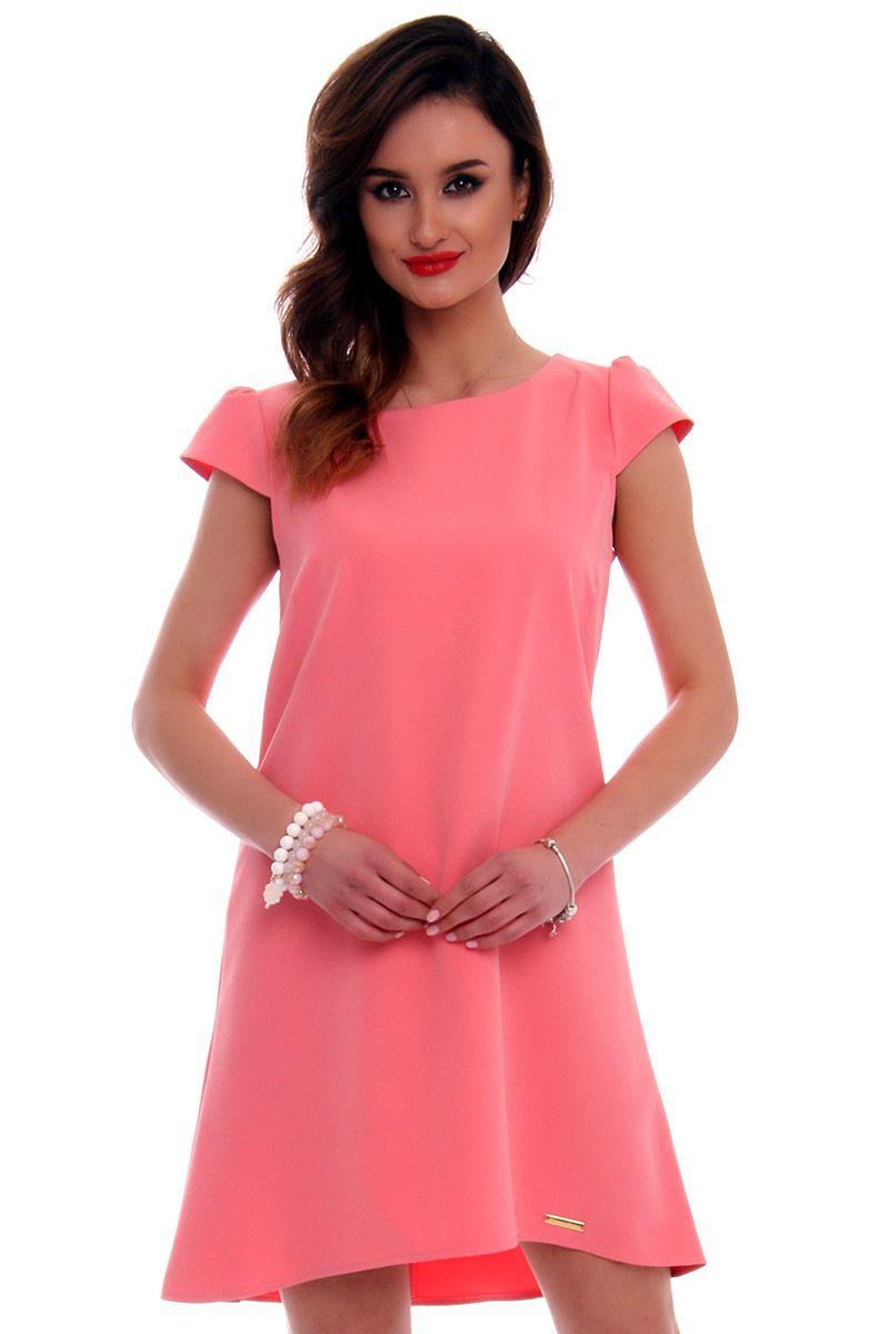 bdadc99c9b Sukienka asymetryczna CMK517 koralowa modna odzież damska CosmosModa