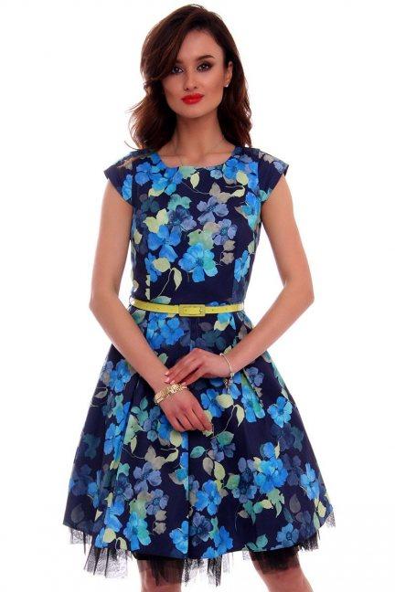 Sukienka w kwiaty midi CMK519 niebieska