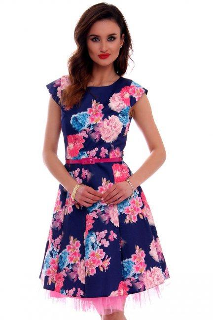 Sukienka w kwiaty CMK519 granatowa