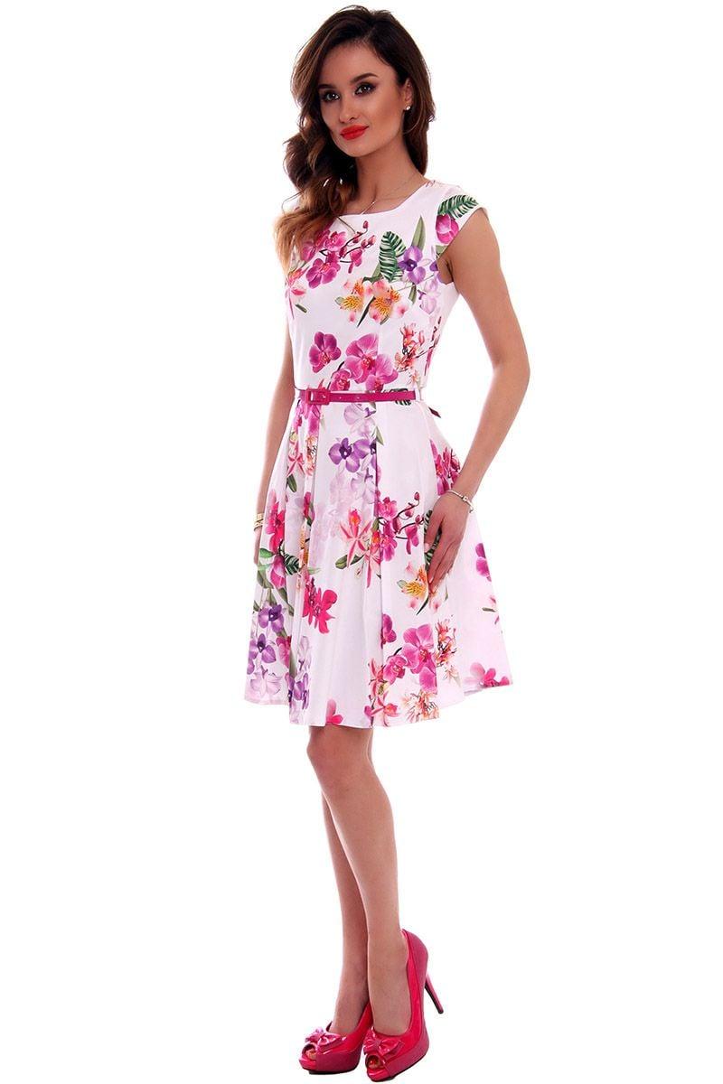 3f56b09f16 Sukienka w kwiaty midi CMK519 różowa modna odzież damska CosmosModa