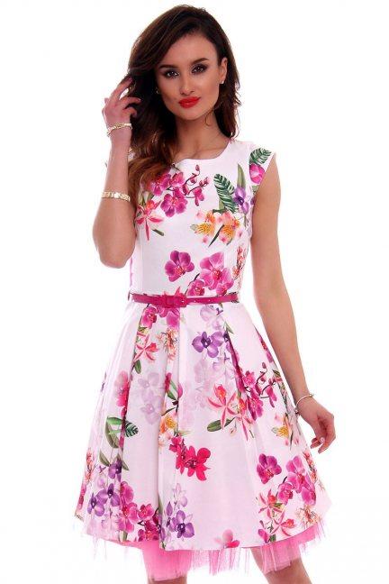 Sukienka w kwiaty midi CMK519 różowa