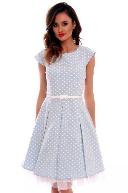 Sukienka w groszki midi CMK520 błękitna