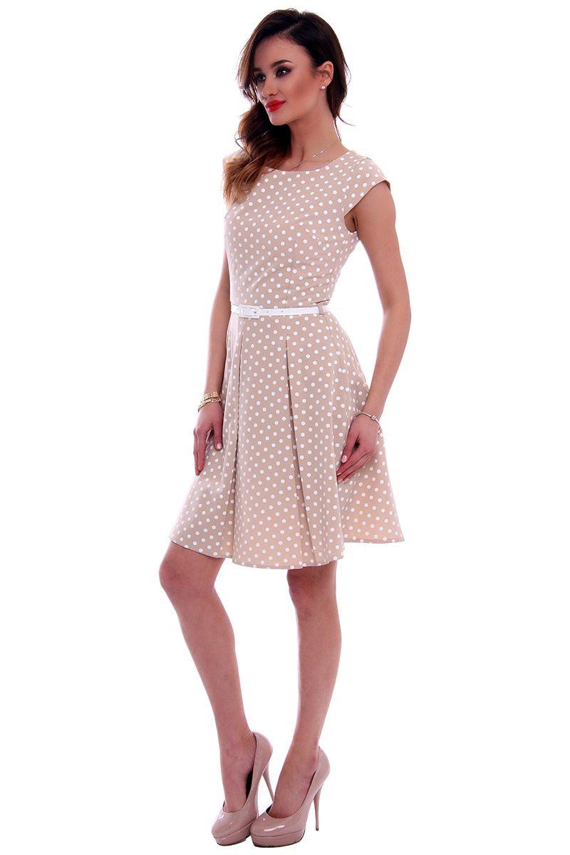 733b99a8a2 Sukienka w groszki midi CMK520 beżowa sukienki wizytowe w CosmosModa