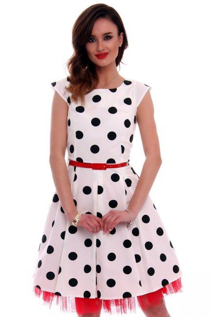 Sukienka w grochy midi CMK520 biała