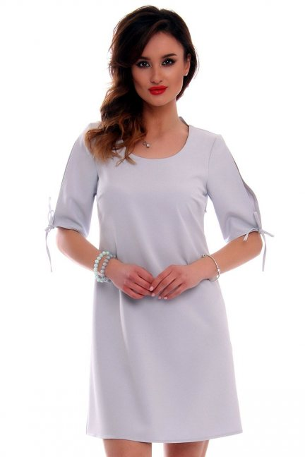 Sukienka mini trapezowa CMK521 szara