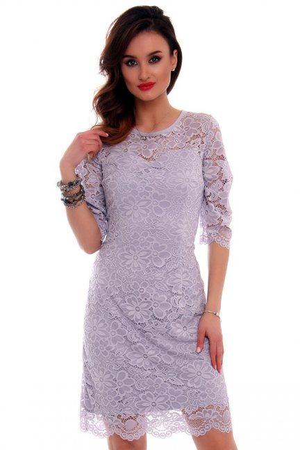 Sukienka koronkowa CMK522 szara