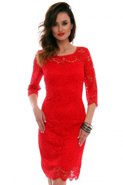 Sukienka koronkowa CMK522 czerwona