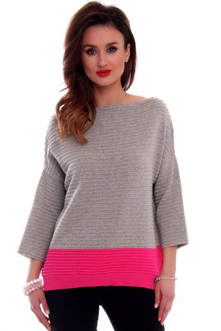 Sweter bawełniany oversize CMK2045 szary