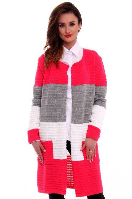 Sweter oversize kardigan w pasy CMK2046 fuksja