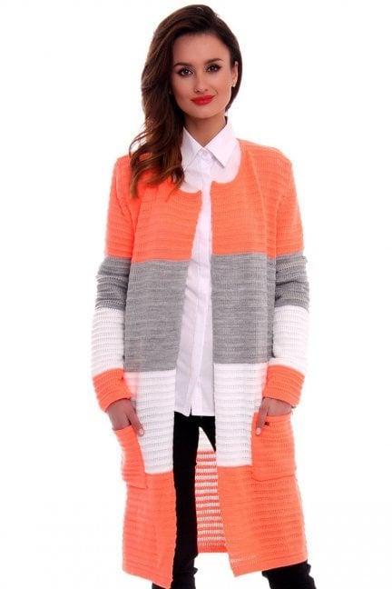 Sweter oversize kardigan w pasy CMK2046 pomarańczowy