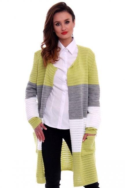 Sweter oversize kardigan w pasy CMK2046 zielony